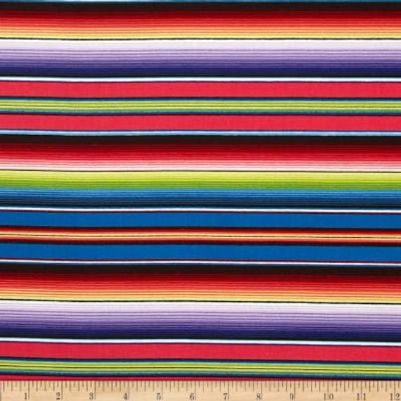 Fabric Mexican Sombrero Serape Fiesta Stripes Orange Cotton by Elizabeth 1//4 yd