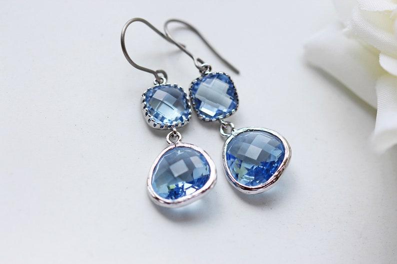Light Sapphire Blue Glass Titanium Earrings Silver Nickel Free