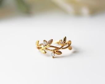 Gold Cubic Zirconia Branch Leaves Adjustable Ring Olive Branch Crystal Modern Feminine