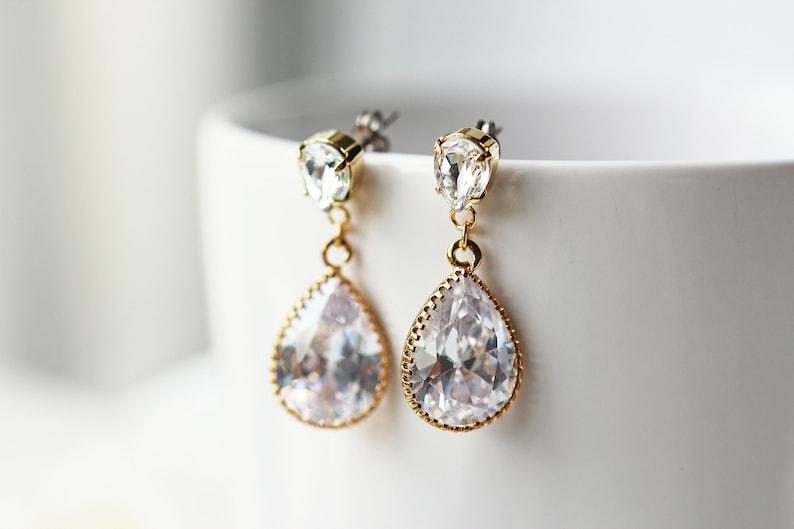 a4d6905ceab0f Swarovski Clear Crystal Cubic Zirconia Titanium Earrings Nickel Free  Wedding Jewelry