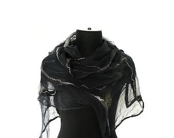 Nuno Felted Scarf Handmade Cobweb Black Dark Grey Scarf OOAK Felt Gift For Her