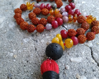 Shine on Ruby Amber Mala- Hand knotted Mala- Healing Stone 108 bead Mala- Prayer Meditation Necklace- Aromatherapy Necklace- Mantra