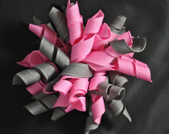 Pink and Grey Korker Hair Clip