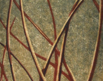 Original Woodblock Reduction Print -  Grasses No. 3 OOAK hand-pulled moku haga fine art print