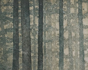 Woodblock Print - Forest No. 16 Moku Hanga Fine Art Print Limited Edition Landscape Reduction Print