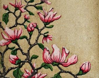 New! Limited Edition Woodblock Print - Tree No. 39 Moku Hanga Fine Art Print Blossoms