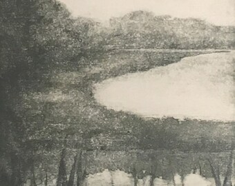 Original Monotype Landscape Hand Pulled Fine Art Print, matted and ready to frame