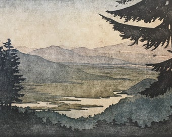 Woodblock Reduction Print Landscape No. 4 Moku Hanga Block Print Artist Proof