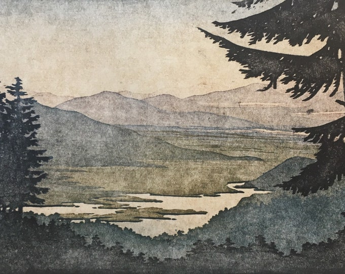 Featured listing image: Woodblock Reduction Print Landscape No. 4 Moku Hanga Block Print Artist Proof