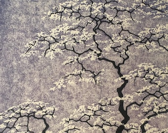 Fine Art Woodblock Print Tree No. 28 Purple Hand Pulled OOAK Locust Blossoms Moku Hanga