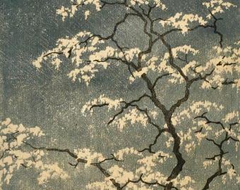Locust Blossom Hand Pulled Fine Art Print - Limited Edition Linocut Block Print Tree