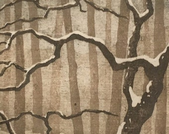 Snow No. 3 - Woodblock Reduction Print - OOAK Original Handpulled Fine Art Print Moku Hanga Landscape -matted and ready to frame