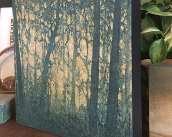 Mounted Woodblock Print Forest No. 9, Landscape Hand Pulled Fine Art Print - Ready To Hang Wall Art Print