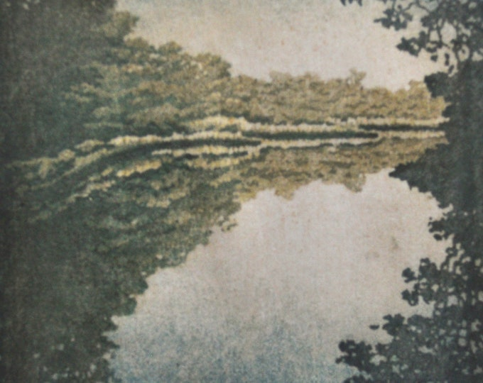 Featured listing image: Woodblock Print Lake No. 2 Moku Hanga Japanese Woodblock Reduction Print limited edition landscape fine art print
