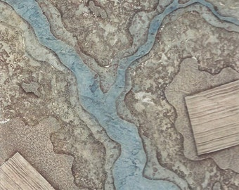 Packaged Print Studio Sale - hand-pulled collagraph OOAK landscape print Layers No. 3 matted and ready to frame