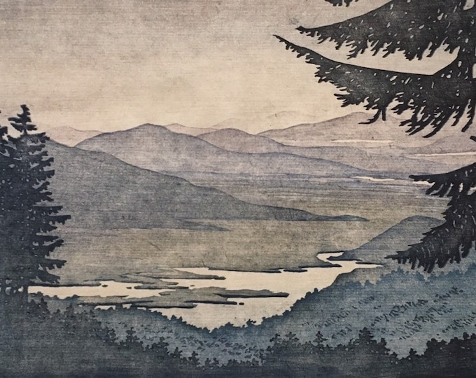 Featured listing image: Woodblock Reduction Print Landscape No. 4 Moku Hanga Block Print Artist Proof Matted and Ready to Frame