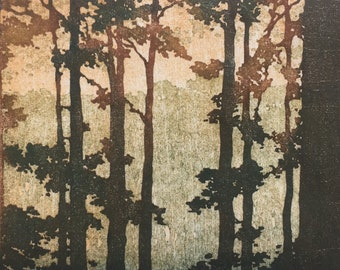 Original Woodblock Print Forest No. 18 Limited Edition Hand Pulled Momu Hanga Fine Art Print