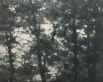 Original Monotype Landscape Trees, Hand Pulled Fine Art Print, matted and ready to frame
