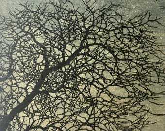 Original Mounted OOAK Woodblock Tree No. 12 Print - Hand Pulled Fine Art Print - Ready To Hang - featured in Miwest Living magazine!