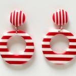 Fakelite Vintage Stripes Galore Hoop Earrings - Red