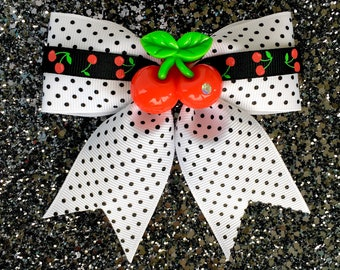 Pinup Pretty Cherries and Dots Hair Bow - White - Rockabilly - 50s - Retro