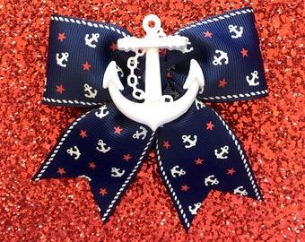 Sale - Retro Sailor Doll Anchors and Stars Hair Bow - Navy - Maritime - Nautical - 50s