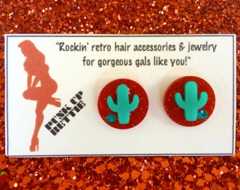 Cactus Cutie Sparkles Earrings - Red Sparkle/Teal