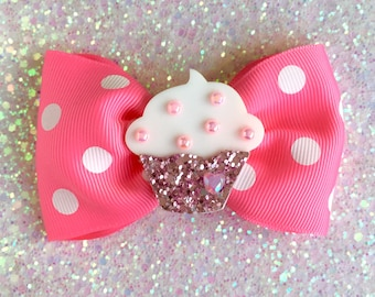 Cupcake Glitter Sweet Heart Hair Bow - Pink - Pinup - Retro