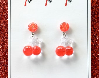Fruitti Tutti Earrings - Cherry Bomb Red - Pinup Girl - Retro - Vintage Style - 1950s