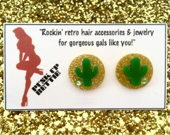 Cactus Cutie Sparkles Earrings - Gold Sparkle/Green