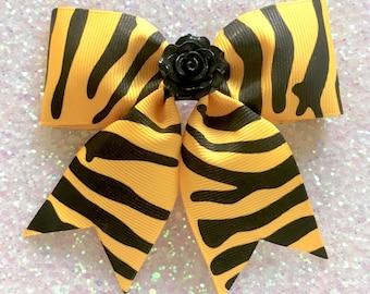 Little Rosie Zebra Hair Bow - Yellow - Psychobilly - Retro - Rockabilly - 50s