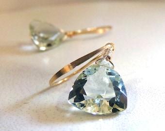 Green Amethyst Earrings, Gold Earrings, Natural Green Amethyst, Pale Green Earrings, AAA Natural Gemstone, Prasiolite - Spring Rain