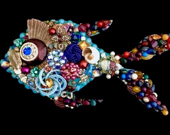 Tropical Fish Vintage Jewelry Wall Art  Home Decor  Beach Ocean House Decor  Jeweled Fish  Vintage Jewelry Art  Angie