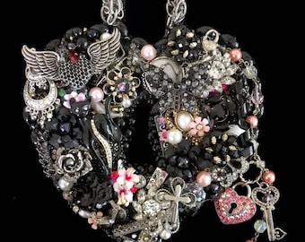 Heart Locket Vintage Jewelry Wall Art  Home Decor  Rock & Roll Decor  Jeweled Heart  Vintage Jewelry Art  Joan Jett