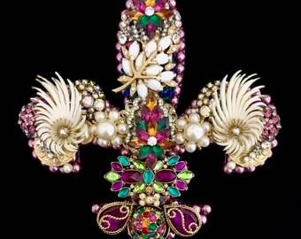 Fleur de Lis Vintage Jewelry Wall Art  Home Decor  New Orleans Decor  Jeweled Fleur de Lis  Vintage Jewelry Art  Mardi Gras