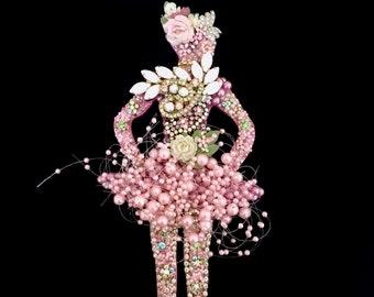 Ballerina Dancer Vintage Jewelry Wall Art  Home Decor  Dance Decor  Jeweled Ballerina  Vintage JewelryWall Art  Petal