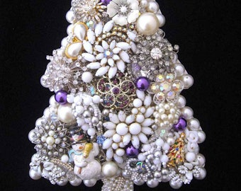 Christmas Tree Vintage Jewelry Wall Art   Home Decor  Christmas Decor Jeweled Christmas Tree  Vintage Jewelry Art  Iced Christmas