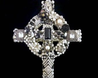 Celtic Cross Vintage Jewelry Wall Art  Home Decor  Spiritual Decor  Jeweled Cross  Vintage Jewelry Art  Dawnguard