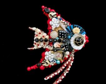 Fish Decor, Fish Vintage Jewelry Art, Beach House Decor, Fish Gift, Jewelry Fish, Tropical Fish Decor, Splash