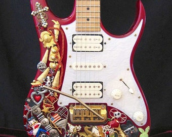 Ibanez Jeweled Electric Guitar - Guitar Art - Embellished Guitar - Music Art - Recording Studio Decor - Musician - Graffiti