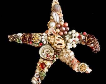 Starfish Vintage Jewelry Wall Art  Home Decor  Ocean Beach House Decor  Jeweled Starfish  Vintage Jewelry Art  Destin