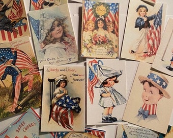 Die Cuts/Gift Tags Fourth Of July-Vintage Style-Card making-Journal Supplies 32 Pc 4th Of July