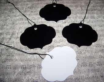 Gift Tags-Pretty Scalloped Gift Tags With String-Black front White Back~100 Gift Tags