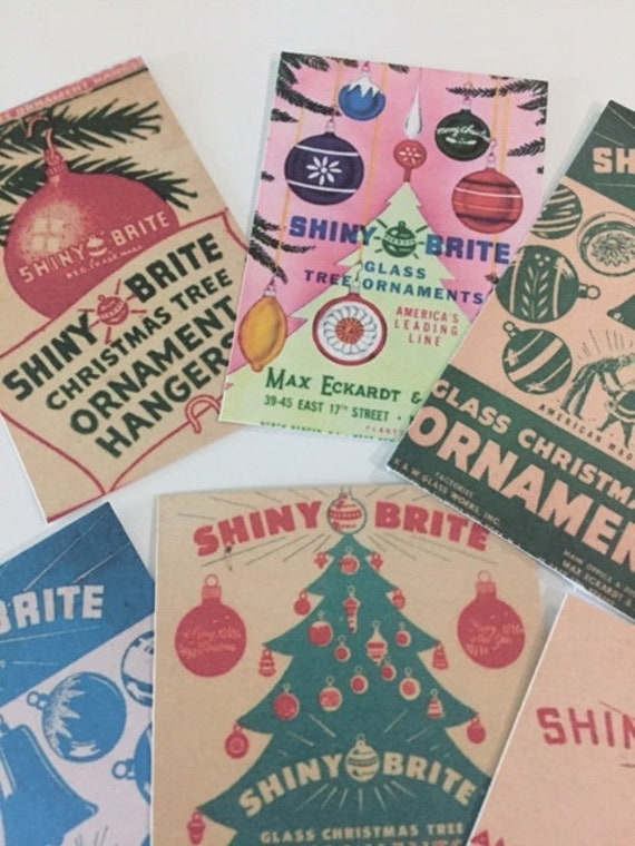Vintage Shiny Brite Ads~CHRISTMAS CARDS DIE CUTS//Gift Tags 48 Piece~Decorations