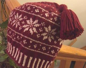 Burgundy Snowflake Hat - Adult size