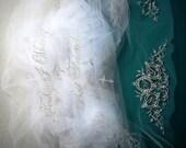 Swarovski Crystal Embellished Monogrammed Phrase Embroidered Veil