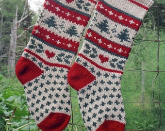 Instant Download Christmas Stocking Knitting Pattern -  EVERGREEN
