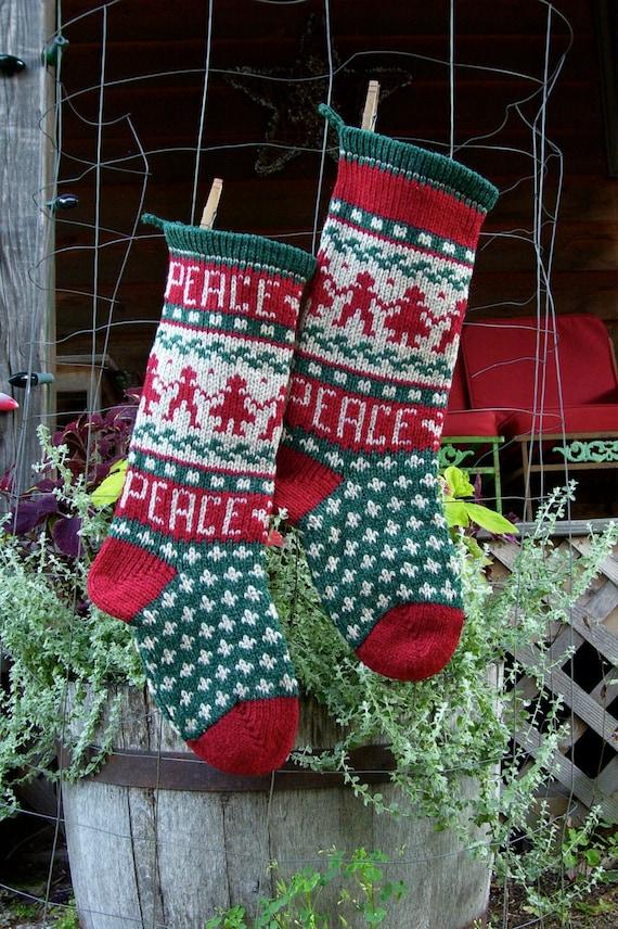 PEACE on Earth Christmas Stocking Knitting Pattern Digital | Etsy
