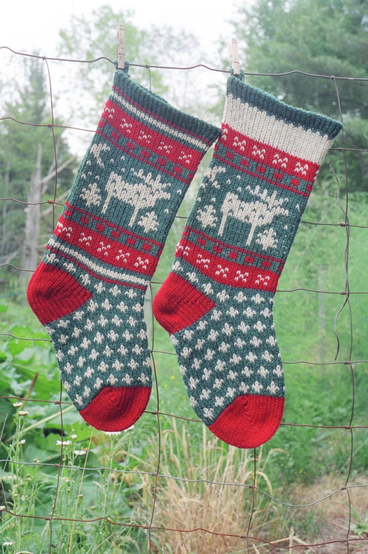 MOOSE Christmas Stocking Digital Knitting Pattern Instant | Etsy
