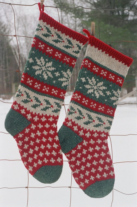 Holly Stocking Knitting Pattern Downloadable Christmas Etsy